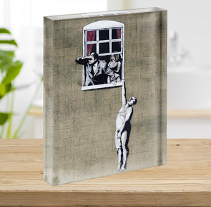 Banksy Window Lovers Acrylic Block - Canvas Art Rocks - 2