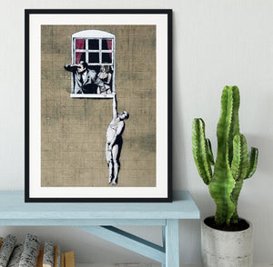 Banksy Window Lovers Framed Print - Canvas Art Rocks - 1