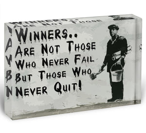 Banksy Winners Are Not Acrylic Block - Canvas Art Rocks - 1