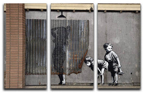 Banksy Woman In Shower 3 Split Panel Canvas Print - Canvas Art Rocks