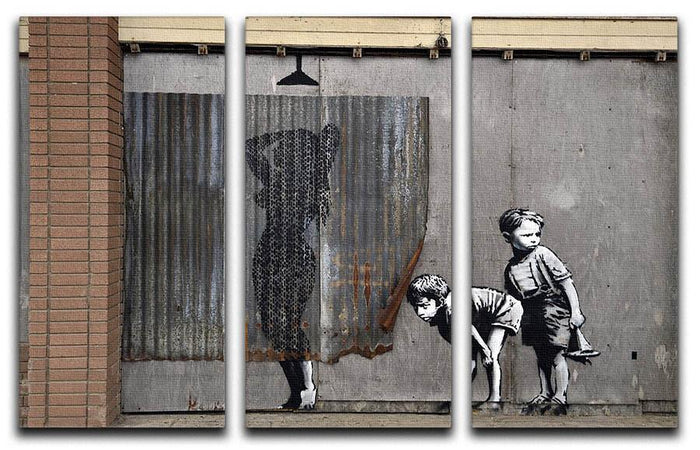 Banksy Woman In Shower 3 Split Panel Canvas Print