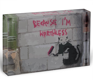 Banksy Worthless Rat Acrylic Block - Canvas Art Rocks - 1