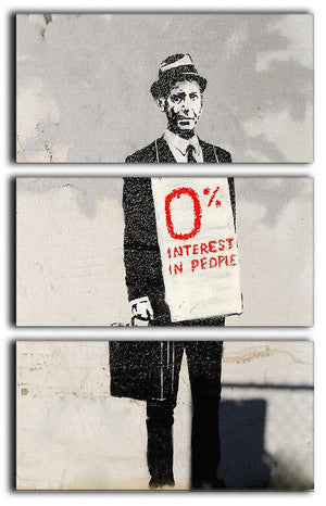 Banksy Zero Percent Interest 3 Split Panel Canvas Print - Canvas Art Rocks