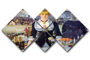 Bar in the Folies-Bergere by Manet 4 Square Multi Panel Canvas  - Canvas Art Rocks - 1