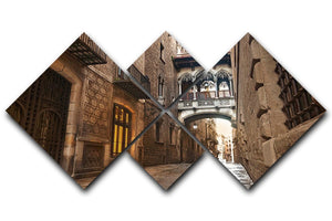 Barcelona Gothic quarter Carrer del Bisbe 4 Square Multi Panel Canvas  - Canvas Art Rocks - 1