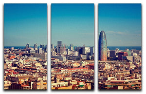 Barcelona skyline with skyscrapers 3 Split Panel Canvas Print - Canvas Art Rocks - 1