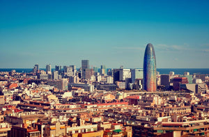 Barcelona skyline with skyscrapers Wall Mural Wallpaper - Canvas Art Rocks - 1