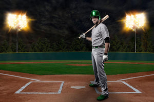 Baseball Player in Green Wall Mural Wallpaper - Canvas Art Rocks - 1