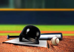 Baseball equipment on base Wall Mural Wallpaper - Canvas Art Rocks - 1