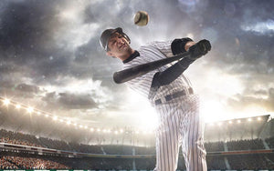 Baseball player in grand arena Wall Mural Wallpaper - Canvas Art Rocks - 1