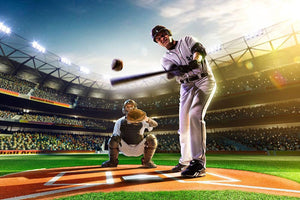 Baseball players Wall Mural Wallpaper - Canvas Art Rocks - 1