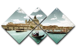 Basilica Santa Maria della Salute sunny day 4 Square Multi Panel Canvas  - Canvas Art Rocks - 1