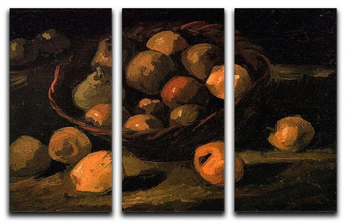 Basket of Apples by Van Gogh 3 Split Panel Canvas Print