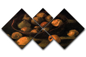 Basket of Apples by Van Gogh 4 Square Multi Panel Canvas  - Canvas Art Rocks - 1