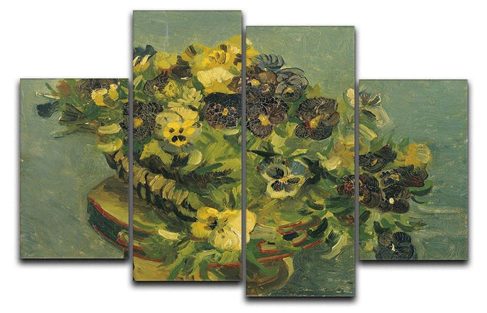 Basket of pansies on a small table by Van Gogh 4 Split Panel Canvas