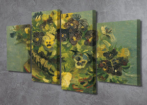 Basket of pansies on a small table by Van Gogh 4 Split Panel Canvas - Canvas Art Rocks - 2