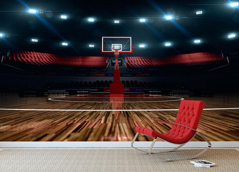 Basketball court Wall Mural Wallpaper - Canvas Art Rocks - 1