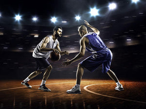 Basketball players in action in gym Wall Mural Wallpaper - Canvas Art Rocks - 1