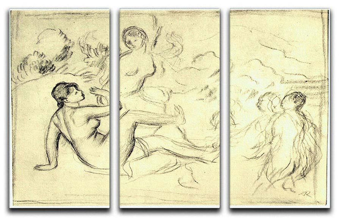 Bather 2 by Renoir 3 Split Panel Canvas Print
