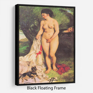 Bather with a Terrier by Renoir Floating Frame Canvas