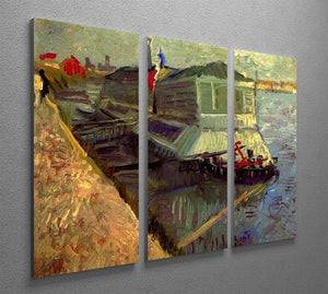 Bathing Float on the Seine at Asniere by Van Gogh 3 Split Panel Canvas Print - Canvas Art Rocks - 4