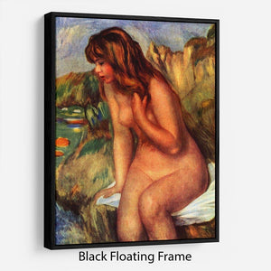Bathing sitting on a rock by Renoir Floating Frame Canvas