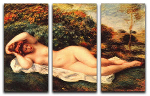 Bathing sleeping the baker by Renoir 3 Split Panel Canvas Print - Canvas Art Rocks - 1