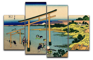 Bay of Noboto by Hokusai 4 Split Panel Canvas  - Canvas Art Rocks - 1