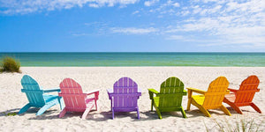 Beach Chairs on a Sun Beach Wall Mural Wallpaper - Canvas Art Rocks - 1