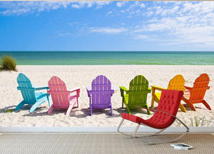 Beach Chairs on a Sun Beach Wall Mural Wallpaper - Canvas Art Rocks - 2