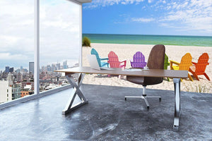 Beach Chairs on a Sun Beach Wall Mural Wallpaper - Canvas Art Rocks - 3