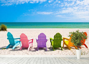 Beach Chairs on a Sun Beach Wall Mural Wallpaper - Canvas Art Rocks - 4
