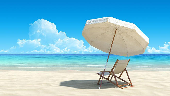 Beach chair and umbrella on idyllic tropical sand beach Wall Mural Wallpaper