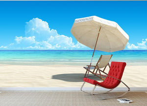 Beach chair and umbrella on idyllic tropical sand beach Wall Mural Wallpaper - Canvas Art Rocks - 2