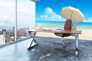 Beach chair and umbrella on idyllic tropical sand beach Wall Mural Wallpaper - Canvas Art Rocks - 3