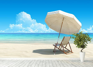 Beach chair and umbrella on idyllic tropical sand beach Wall Mural Wallpaper - Canvas Art Rocks - 4