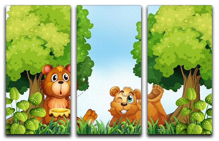 Bears and jar of honey in the forest 3 Split Panel Canvas Print
