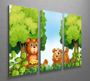 Bears and jar of honey in the forest 3 Split Panel Canvas Print - Canvas Art Rocks - 2