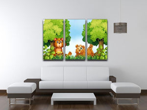 Bears and jar of honey in the forest 3 Split Panel Canvas Print - Canvas Art Rocks - 3
