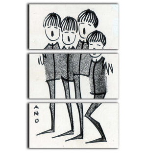 Beatles cartoon by Haro 3 Split Panel Canvas Print - Canvas Art Rocks - 1