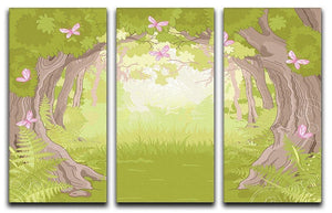 Beautiful Glade in the Magic forest 3 Split Panel Canvas Print - Canvas Art Rocks - 1