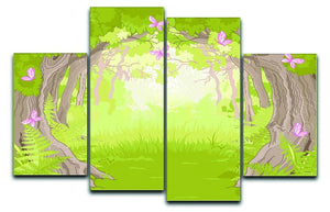 Beautiful Glade in the Magic forest 4 Split Panel Canvas  - Canvas Art Rocks - 1