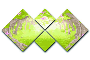 Beautiful Glade in the Magic forest 4 Square Multi Panel Canvas  - Canvas Art Rocks - 1