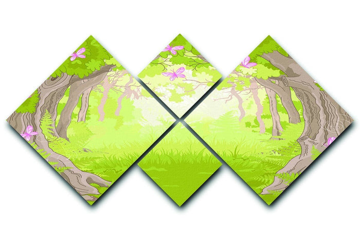 Beautiful Glade in the Magic forest 4 Square Multi Panel Canvas