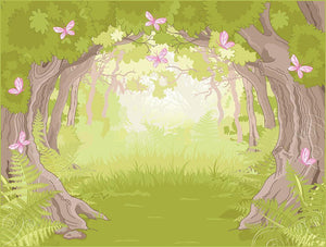 Beautiful Glade in the Magic forest Wall Mural Wallpaper - Canvas Art Rocks - 1
