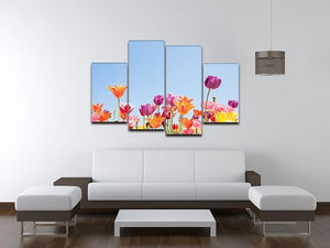 Beautiful coloured flowers 4 Split Panel Canvas  - Canvas Art Rocks - 3
