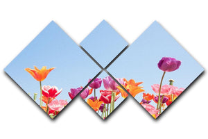 Beautiful coloured flowers 4 Square Multi Panel Canvas  - Canvas Art Rocks - 1