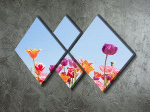 Beautiful coloured flowers 4 Square Multi Panel Canvas  - Canvas Art Rocks - 2