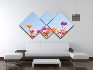 Beautiful coloured flowers 4 Square Multi Panel Canvas  - Canvas Art Rocks - 3