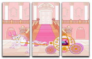 Beautiful fairytale pink carriage 3 Split Panel Canvas Print - Canvas Art Rocks - 1